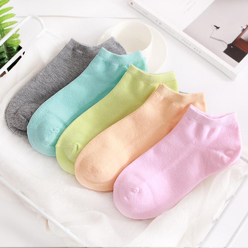 秋冬纯棉低帮浅口女士短袜纯色全棉薄款糖果色可爱日系袜子女船袜