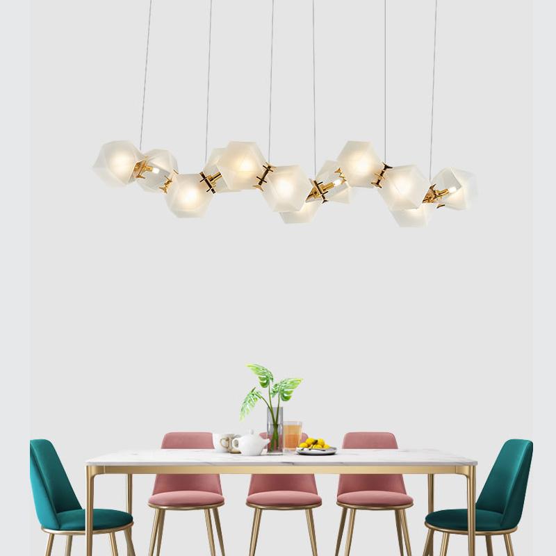 北欧客厅个性餐厅装饰台灯后现代简约创意玻璃DNA艺术菱形吧吊灯