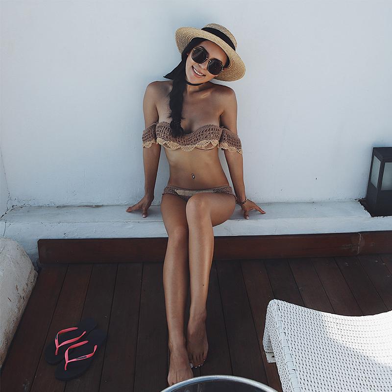 @OM новый цвет hit рука крюк ларец собирать трехточечный песчаный пляж диски бикини трещина купальный костюм женщина сексуальный