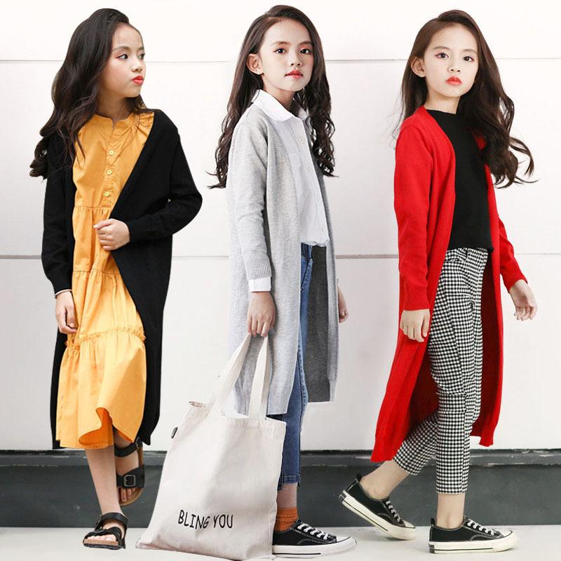 外套开衫毛衣洋气薄款韩版潮中大童百搭外搭女童针织衫中长款儿童