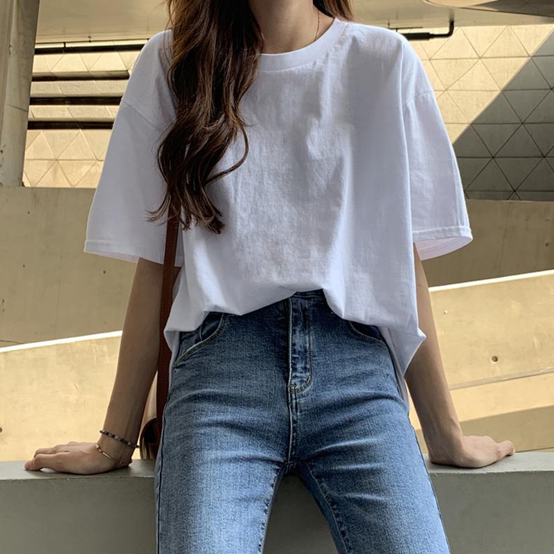 健康棉舒适透气纯棉白色短袖T恤女夏2021怎么穿怎么好看!
