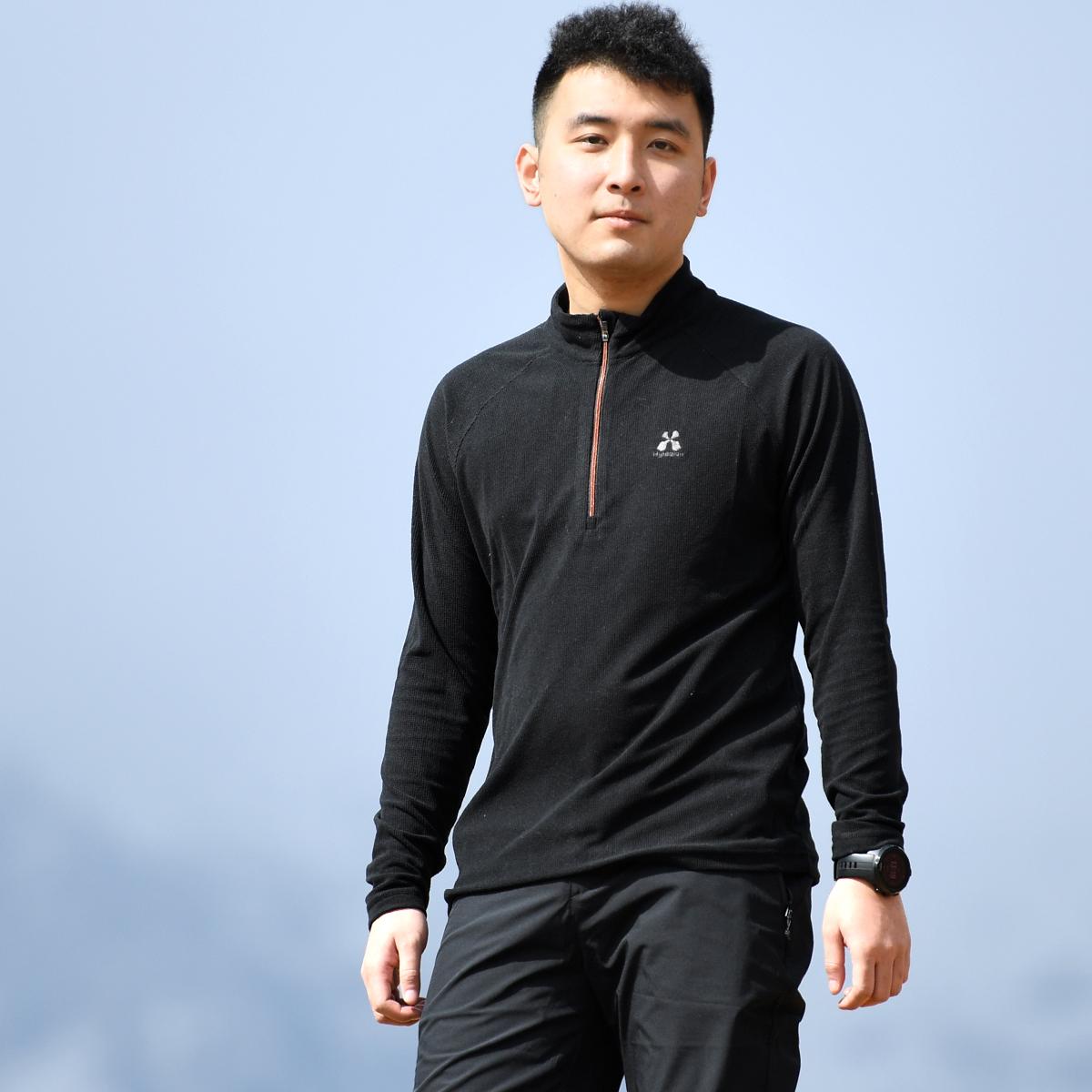 Пекин лес на открытом воздухе новые наборы глава шерсть флис теплый воротник движение эластичность воздухопроницаемый T футболки люди