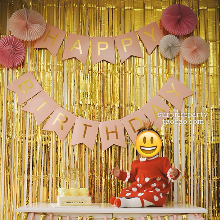 Color Classification Pink Gold HAPPY BIRTHDAY Flag Blue White Black B