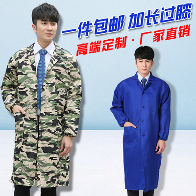 Blue big coat workwear long sleeve mask extension over the knee camouflage coat labor insurance handle clothing factory warehouse long gown