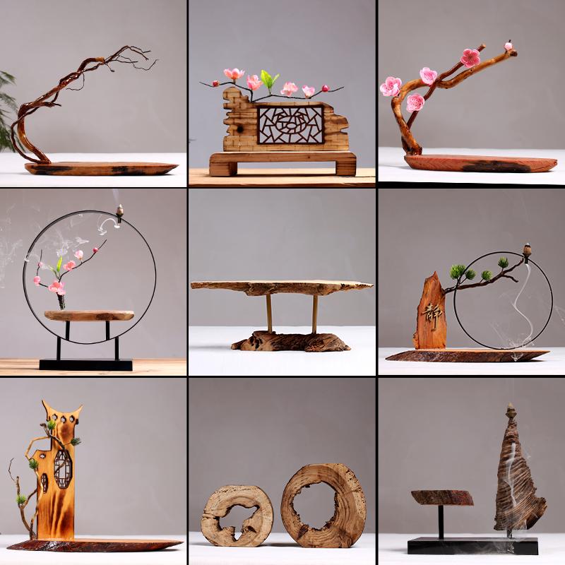 摆件中式玄关工艺品创意木头客厅禅意木雕博古架茶几复古木制装饰