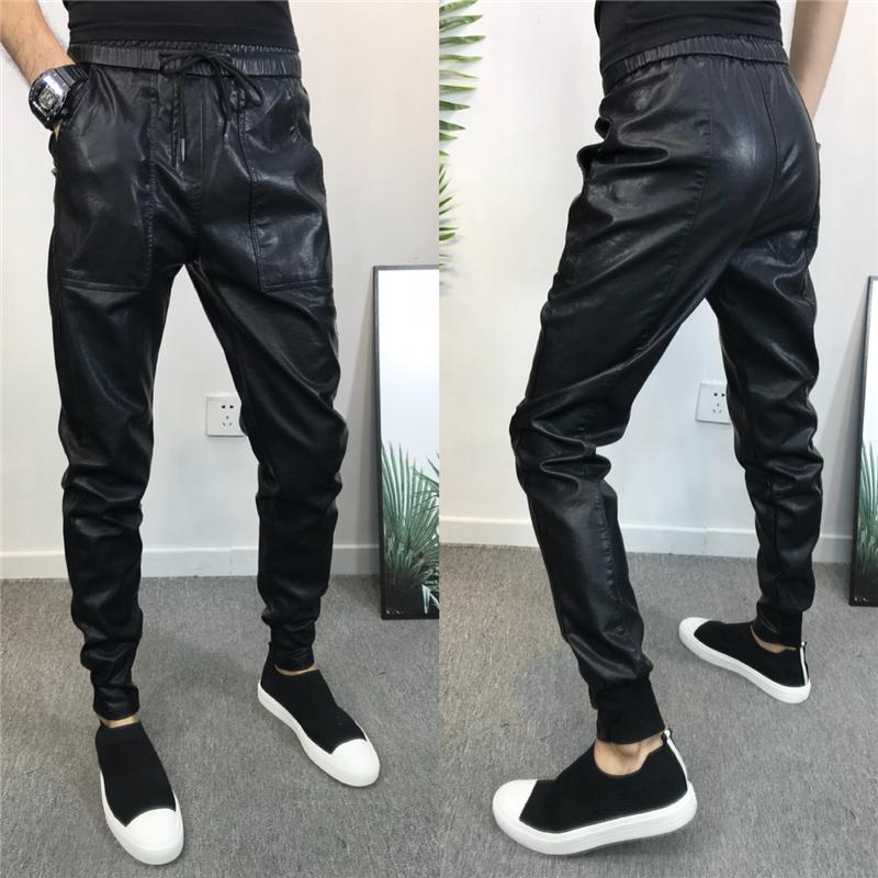 Мужские кожаные штаны быстро красный люди фасон унисекс мужской осень-зима приталенный Маленькие ноги копия кожа кожзаменитель для отдыха Брюки прилива мужской Кожаные штаны