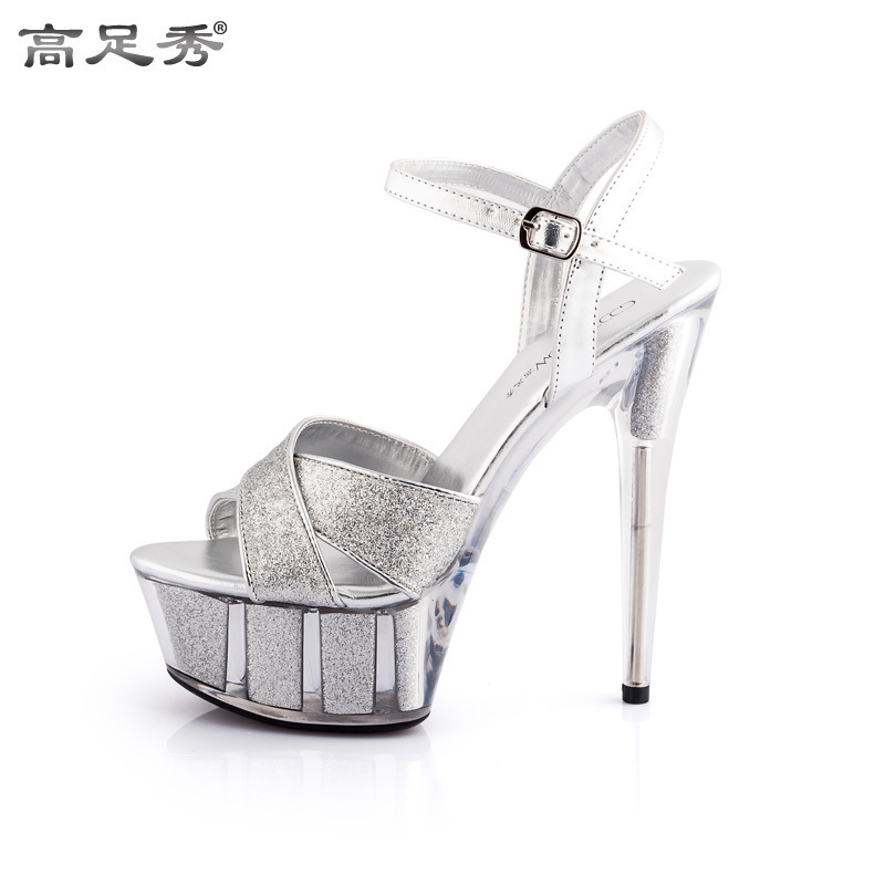 b3c34e88f80 Europe and the United States ultra-high-heeled shoes 15cm fine with thick  sandals