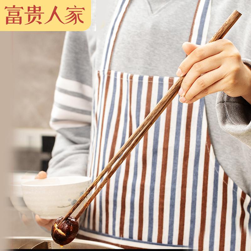 长筷子加长防滑防霉油炸耐高温家用天然鸡翅木快子特长火锅筷公筷
