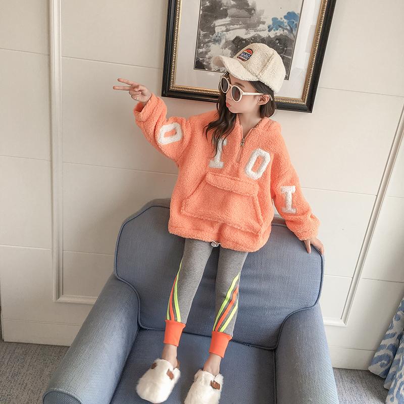 儿童卫衣2019新款羊羔中大童韩版洋气加厚女童绒冬装秋冬连帽上衣