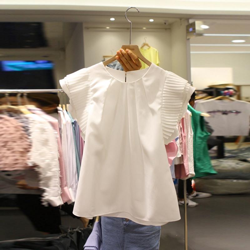 雪纺衬衫女短袖2020夏装新款甜美飞飞袖小清新衬衣荷叶边洋气上衣