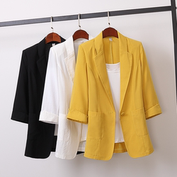 2020 Korean cotton and linen medium and long size suit jacket Korean loose casual fashion small suit women's autumn wear