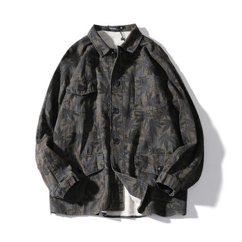 Japanese autumn new tide brand maple leaf printed lapel multi-pocket shirt male street trend tooling coat clothes