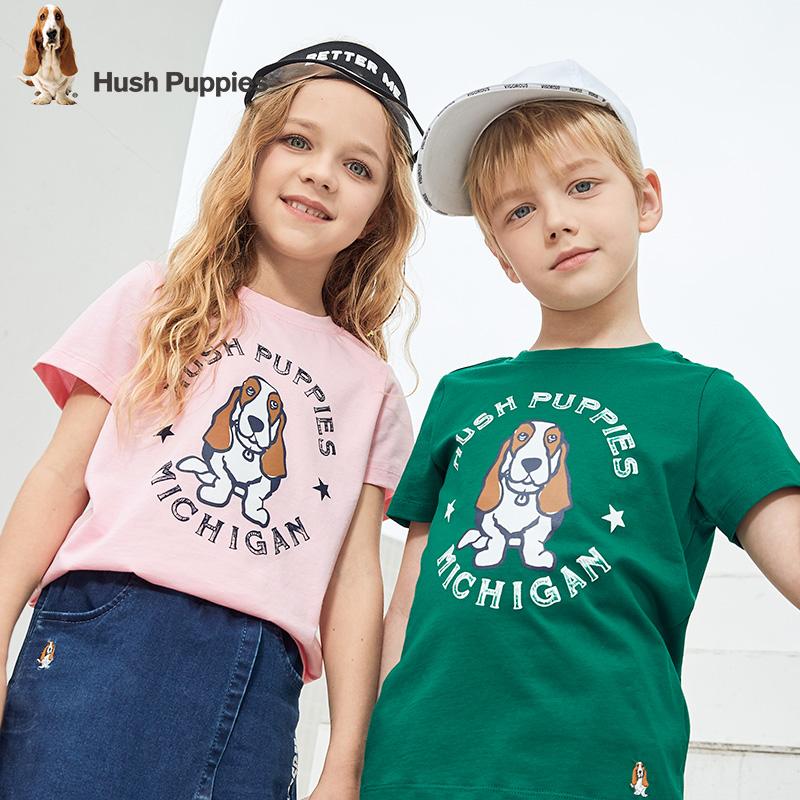 Hush Puppies 暇步士 2020夏季新款 纯棉 儿童短袖T恤 聚划算双重优惠折后¥48包邮 男、女童105~170码多色可选