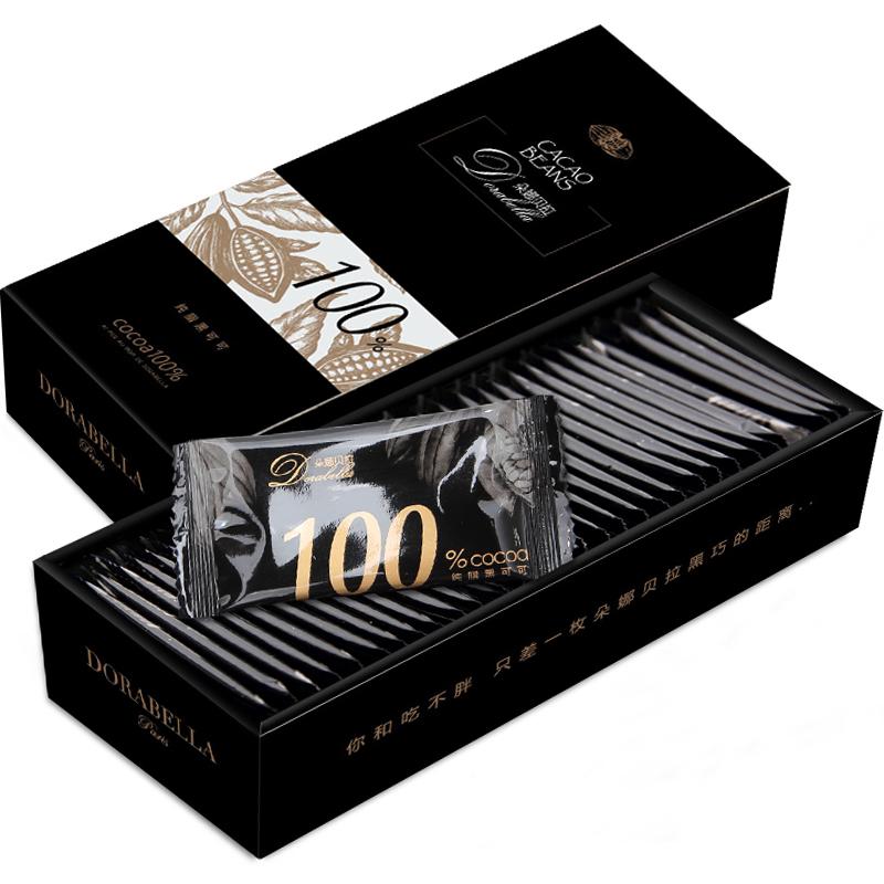 72%纯黑巧克力无蔗糖薄片礼盒装纯可可脂送女友零食礼物网红礼品