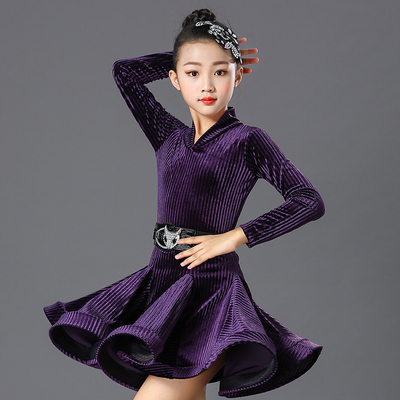 Children's Latin Dance Dress Girls' dance dress practice dress velvet long sleeve children's Latin Dance Dress performance dress