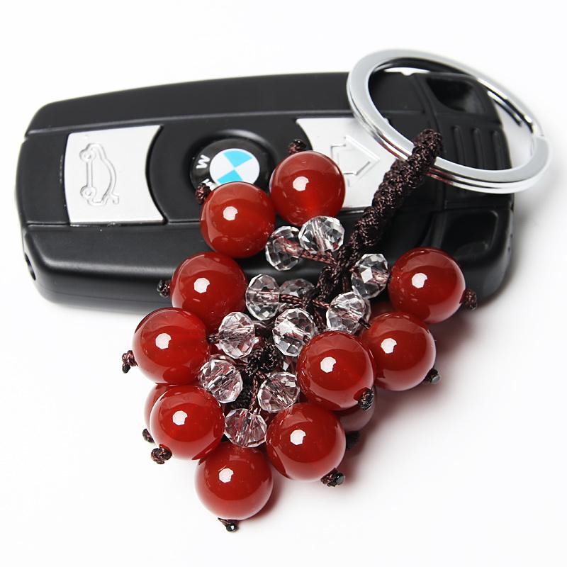 高档天然红玛瑙汽车钥匙扣挂件创意水晶情侣款男女士腰挂钥匙圈链_领取10元淘宝优惠券