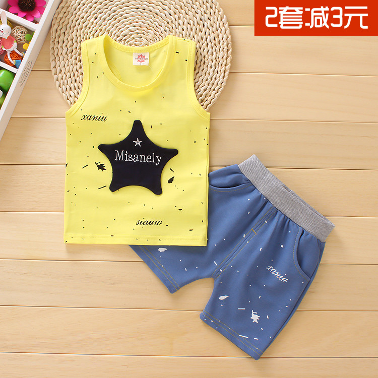 0294b82f8be7 Summer new cotton vest children s suit children s clothes men and women Baby  Baby 1-2-3-4 years old 6-9 months