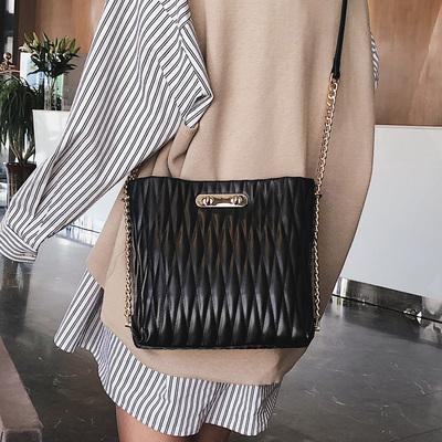 高级感包包女2019新款潮ins大容量绣线水桶包质感链条单肩斜挎包