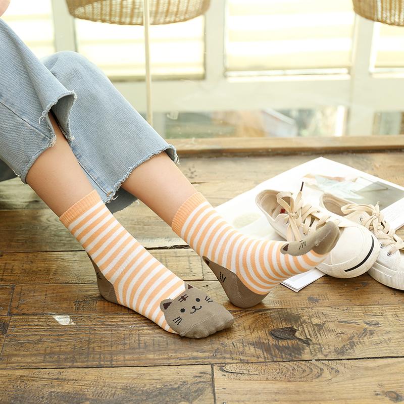 袜子女中筒袜猫咪卡通小动物女棉袜可爱少女条纹狗秋冬女袜子_淘宝优惠券