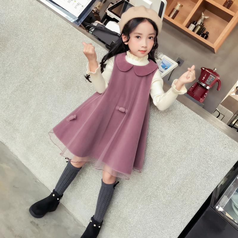 女童毛呢背心裙洋气冬裙2018新款大童娃娃领裙子秋冬款儿童连衣裙
