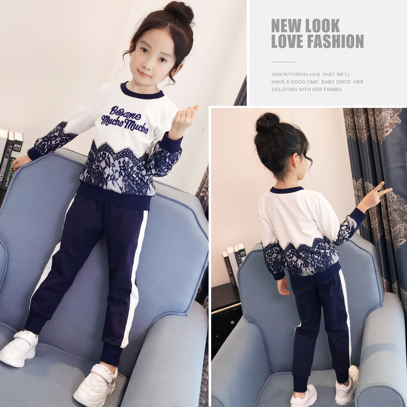 374f67dfe52dd7 Girls suit spring 2019 New children's clothing Korean version of the  children's sweater casual pants two-piece children's sportswear