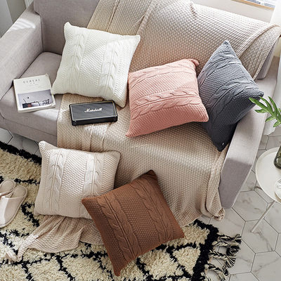 Long Yexi Nordic solid color bay window pillow cushion living room sofa pillow model room by square