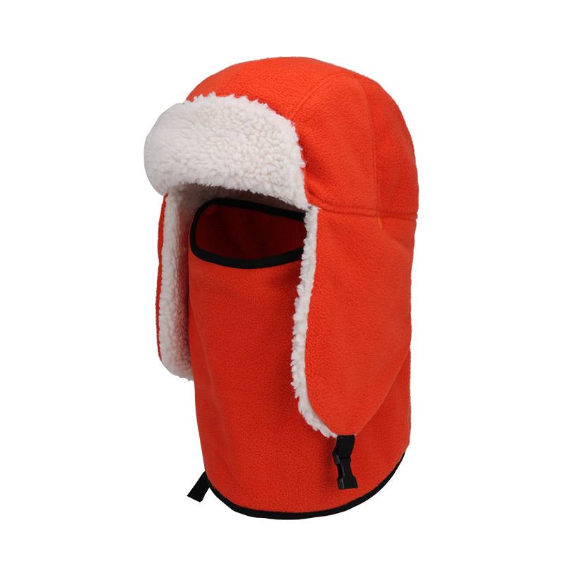 Mùa đông thể thao ngoài trời cưỡi gió ấm áp hai lớp lông cừu dày bib bib lông cừu lạnh và mũ trượt tuyết - Mũ thể thao
