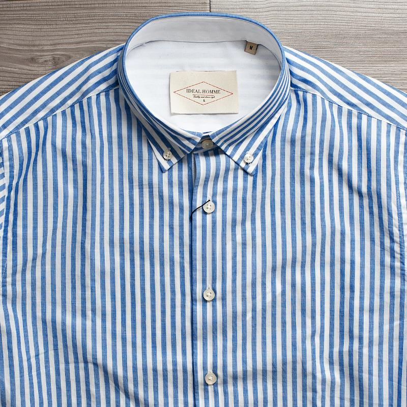 英式经典蓝白条纹休闲柔棉面料长袖衬衫男士高档大码男装 C112