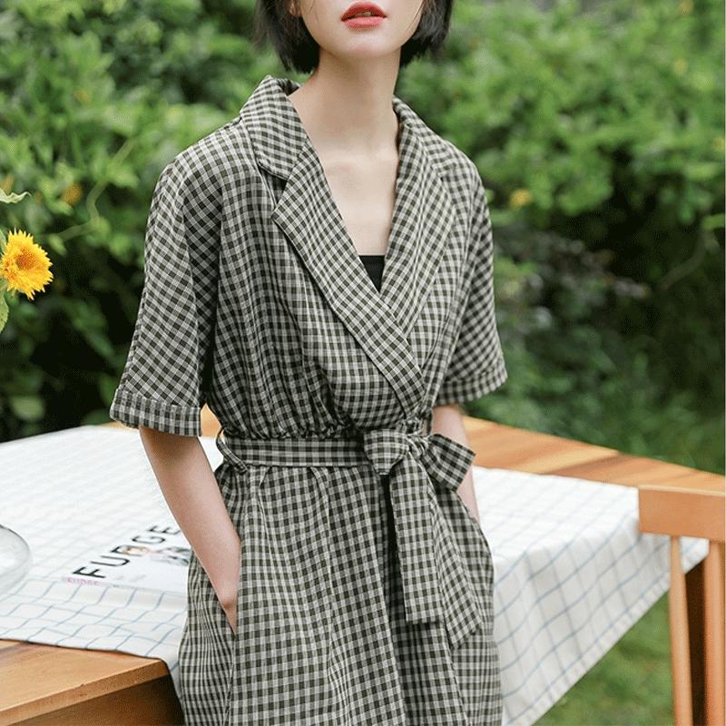 2019春夏新款韩版宽松小清新学生复古阔腿裤子格子连体女显瘦百搭