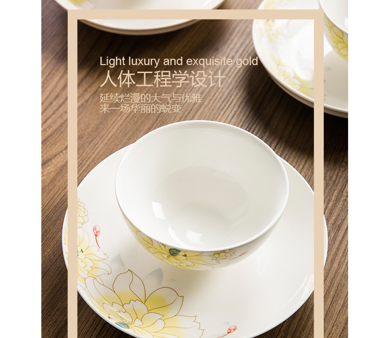 The dishes suit household jingdezhen ceramics tableware chopsticks ipads porcelain contracted household to eat bread and butter plate combination