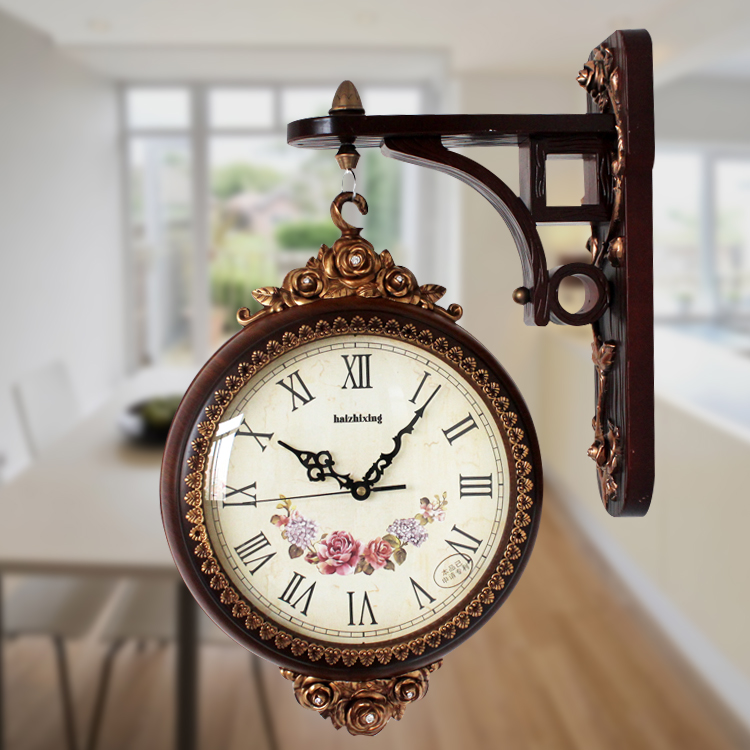European Style Double Sided Wall Clock Off The Restaurant Entrance Fashion Ultra Quiet