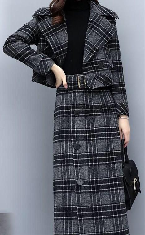 外套格子件套女2019短款气质名媛时尚套装半身毛呢裙显瘦两秋冬潮