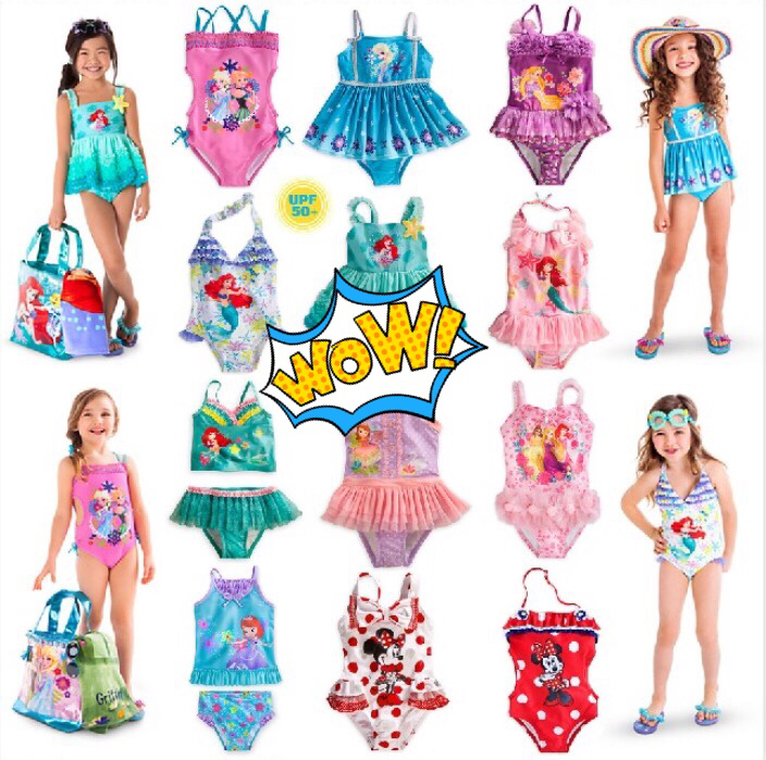 9fe6aa1ada5 Foreign Trade Girls Swimming Suit Conjoined Disney Children's Swimming Suit  with Cap Kids Swimming Suit Cute Girl Bikini