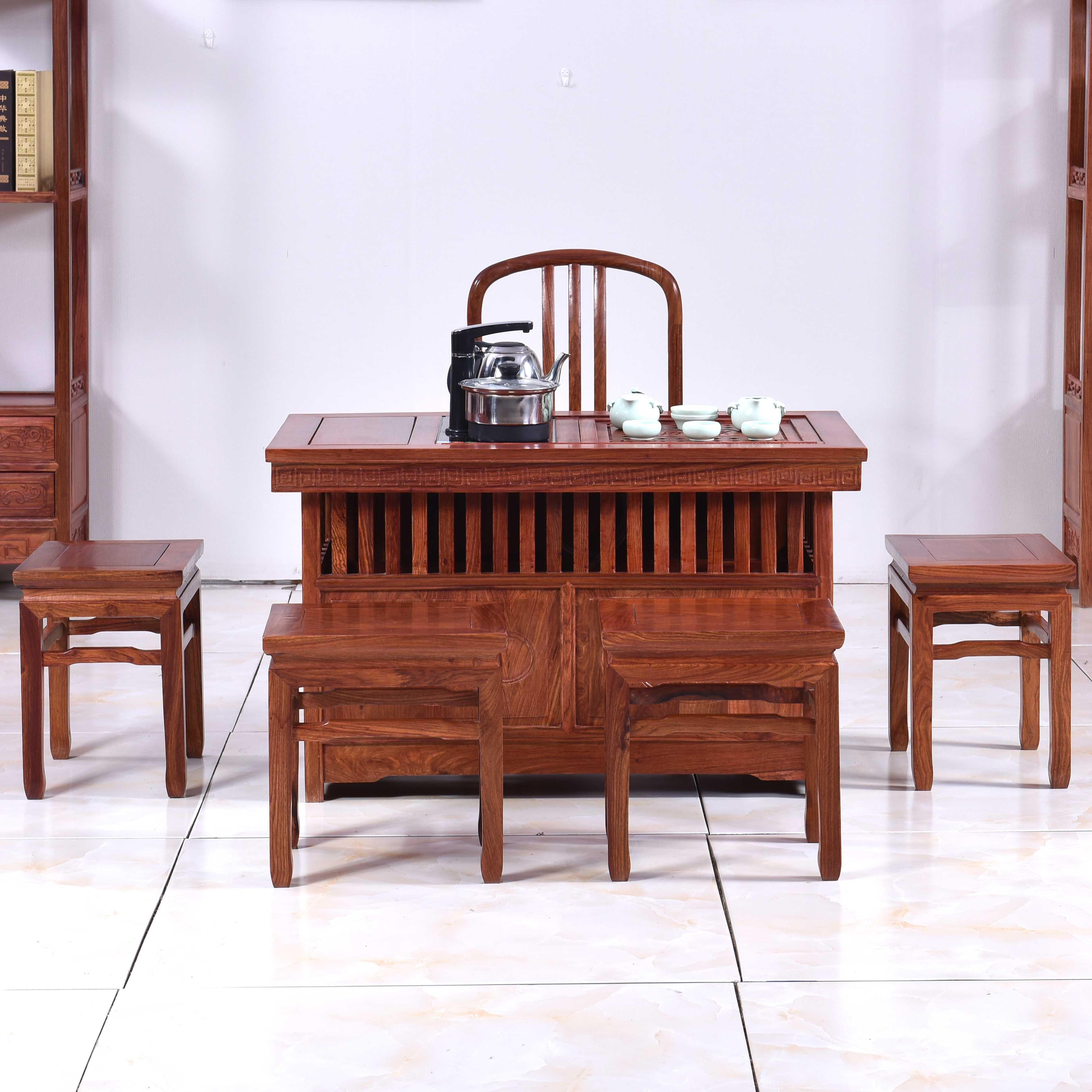 Bàn ghế gỗ gụ gỗ hồng mộc Trung Quốc rắn gỗ kung fu bàn ghế kết hợp ban công bàn trà bàn trà nghệ thuật đơn giản - Bàn trà