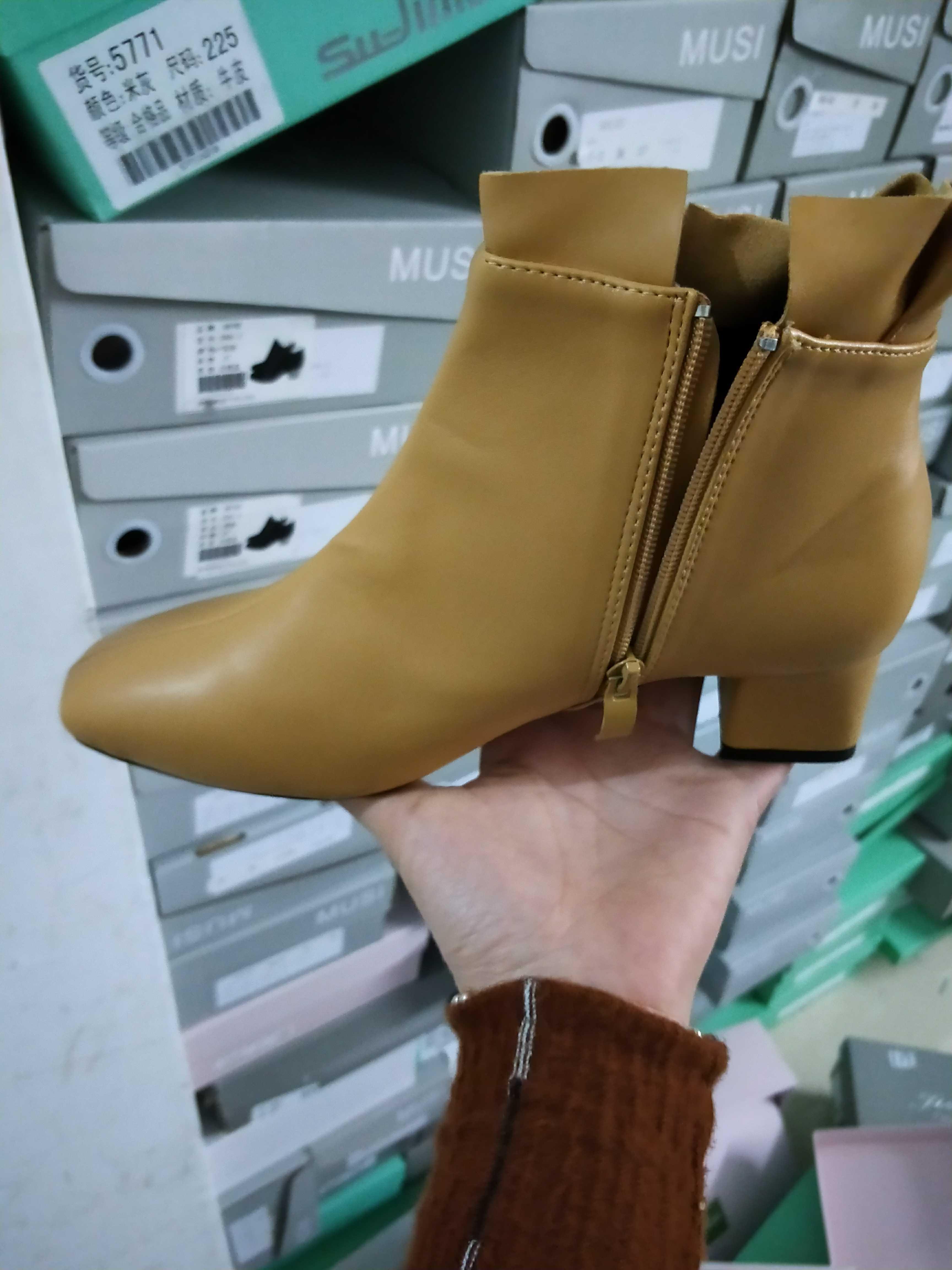 Обувь женская небольшой голый ботинок pu кожа