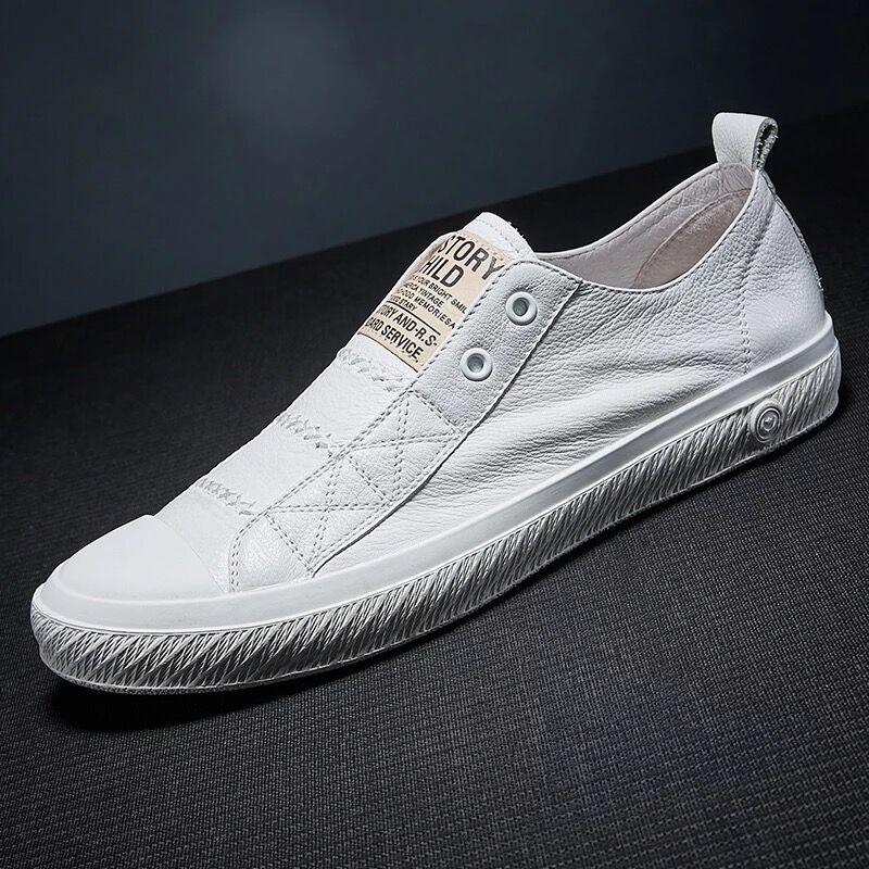欧洲站2019夏季新款真皮百搭乐福鞋男鞋简约个性休闲板鞋潮小白鞋