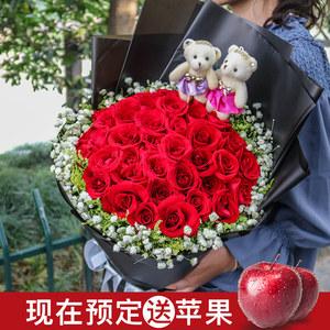 圣诞节红玫瑰花束温州鲜花速递同城苏州宁波杭州天津郑州生日送花