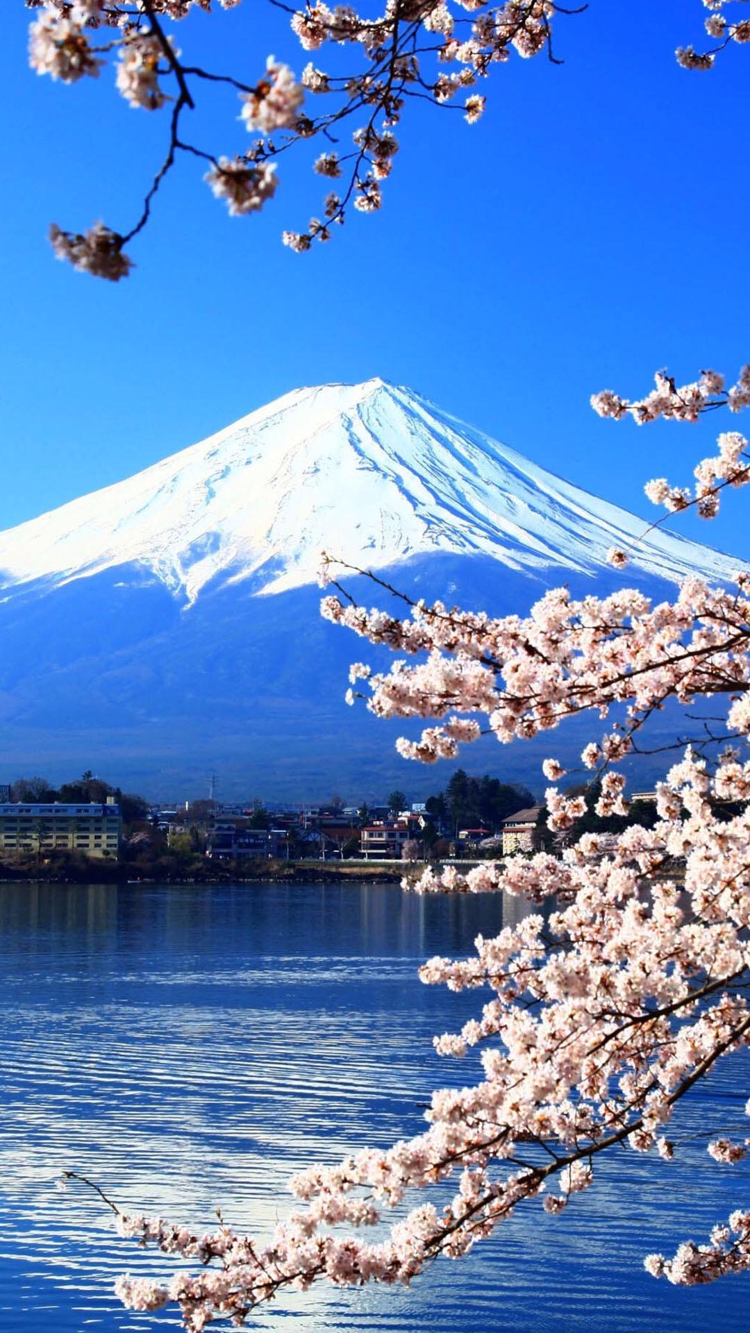 富士山湖光山色高清手机壁纸 自然山水风景手机壁纸图片