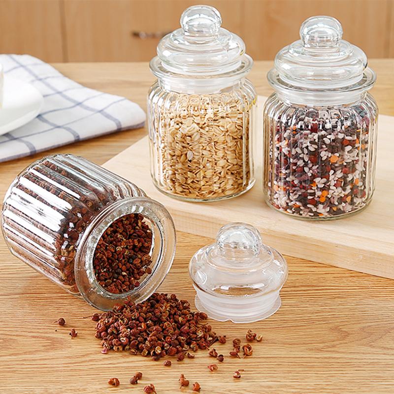 Прозрачное стекло печать бак крышка кухня еда сохранение бак чайница хранение бак ароматный чай влагостойкий хранение бак