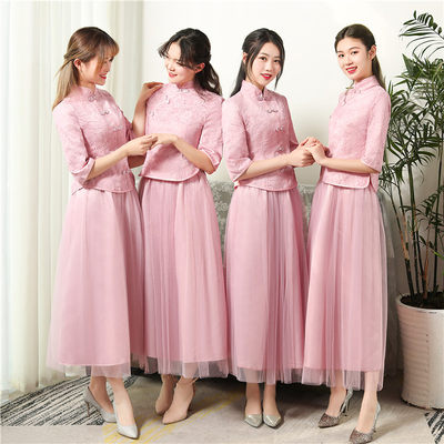 2021 Chinese bridesmaid service long section national wind girlfriends sisters skirt bridesmaid gap in the mother dress Chinese wind XL