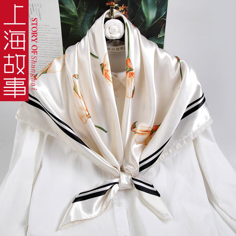 上海故事丝巾女春秋百搭韩版大方巾小领巾中年妈妈款围巾搭配衬衫