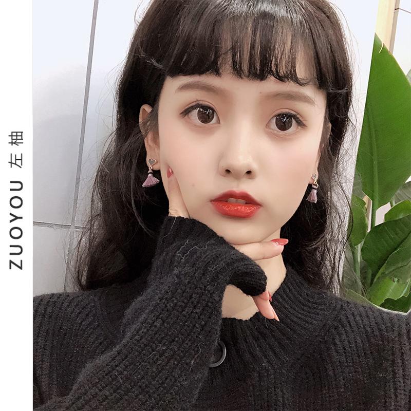 韩国简约滴油桃心耳环可爱心形短款流苏耳钉少女心无耳洞耳夹R307