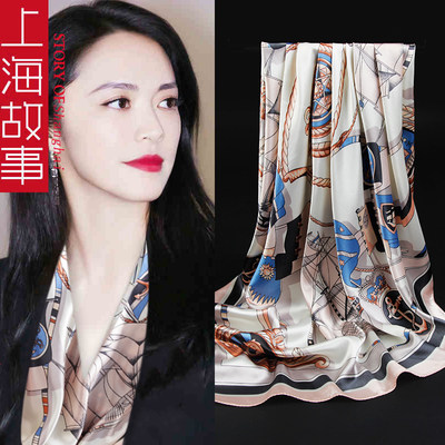 Shanghai story silk scarf female thin spring and autumn wild middle-aged mother scarf square scarf 90x90cm gift box