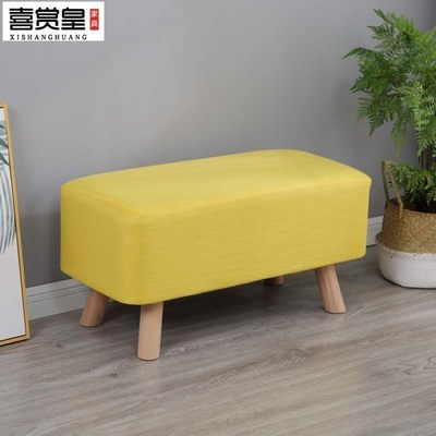 Fabric shoe stool simple modern bed end stool clothing store long stool solid wood rectangular sofa stool living room foot