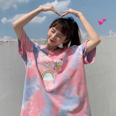 夏季2021新款韩版宽松网红短袖t恤女装学生ins原宿BF风半袖上衣潮