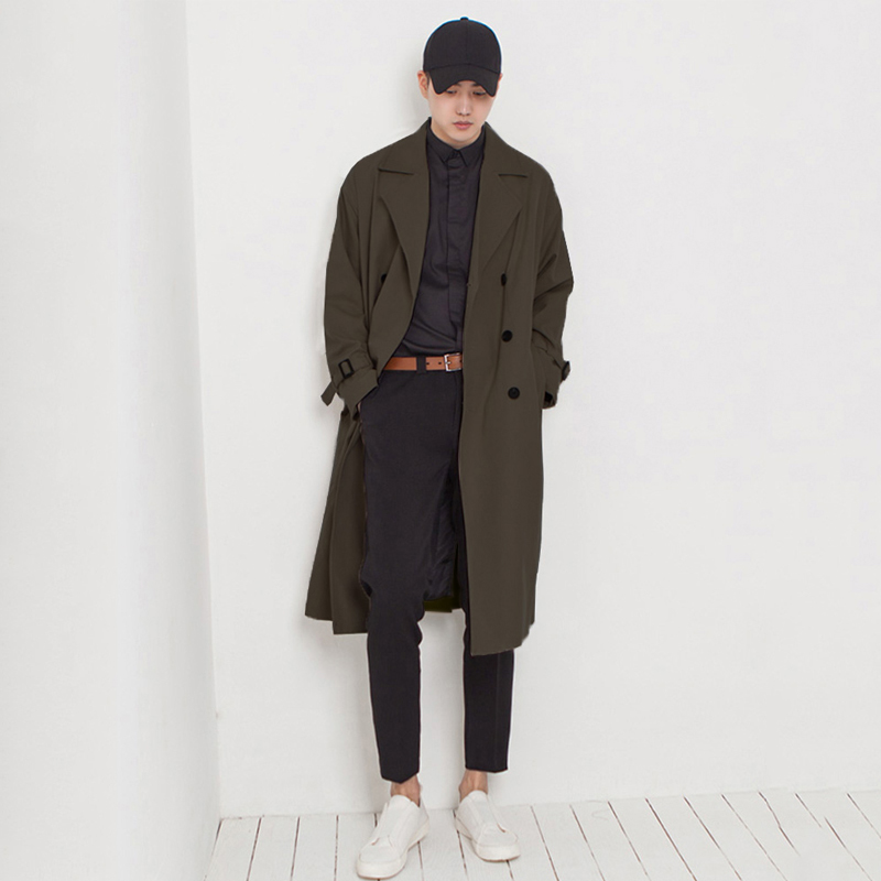 New spring and autumn men's windbreaker Korean version of the long handsome over the knee-length youth casual trend double-row edgout coat coat