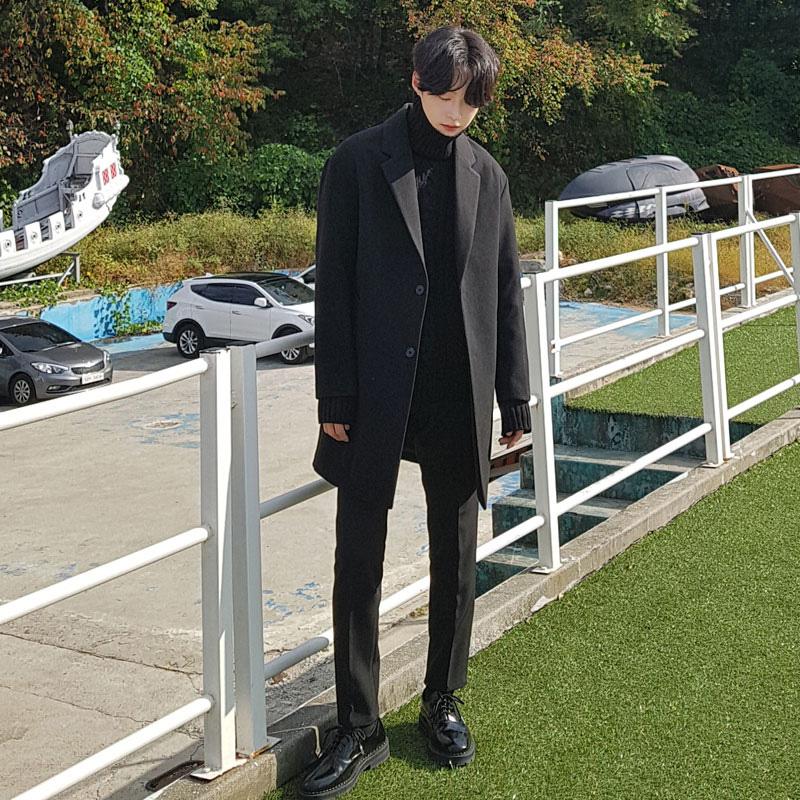冬季加厚韩版羊绒外套双面羊毛中长款毛呢风衣大衣呢绒男士双面尼