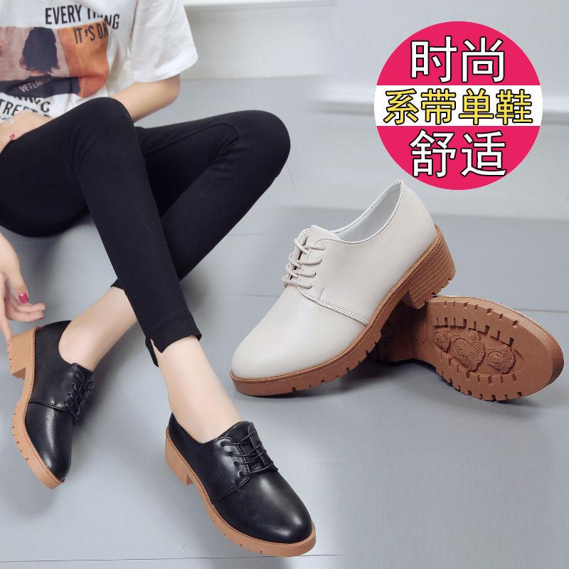 10小单鞋女春秋季系带韩版圆头皮鞋女鞋学生风英伦复古中粗跟学院