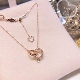 Diamond color gold necklace female AU750 double ring set chain rose gold clavicle chain 18K color gold pendant anniversary