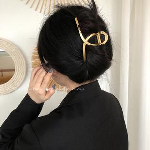 大号发夹女法式复古韩国ins气质优雅金属后脑勺抓夹鲨鱼夹头发饰